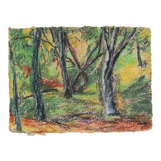 Forest Landscape in Pastel on Handmade Paper For Sale