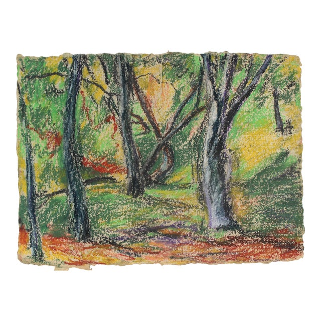 Forest Landscape in Pastel on Handmade Paper For Sale