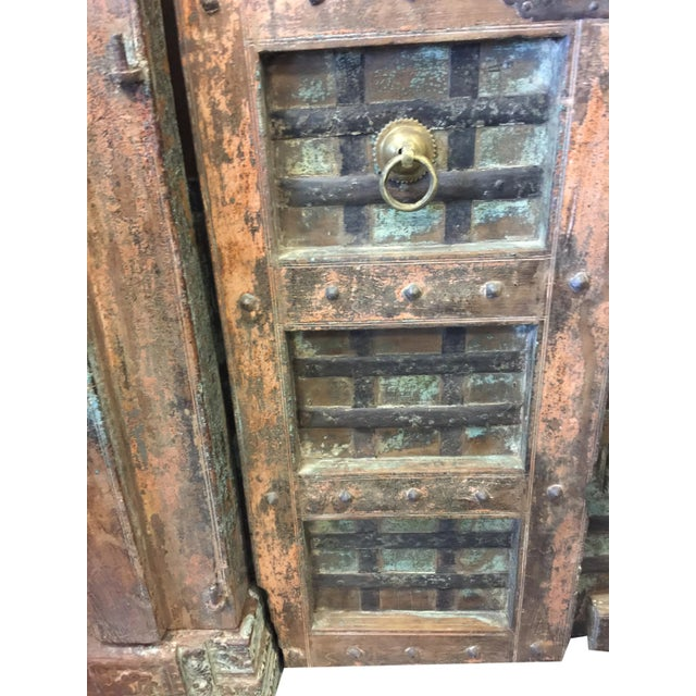 Indian Haveli Antique Chakra Earthing Teak Wood Mid Century Doors For Sale  - Image 4 of - Indian Haveli Antique Chakra Earthing Teak Wood Mid Century Doors