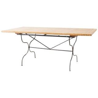 Italian Oak Farm Table With Iron Trestle Base For Sale