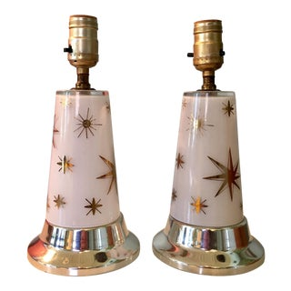 1950s Celestial Glass Lamps- a Pair For Sale