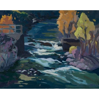 """Last Light Trinity River California"" Original Landscape Oil Painting by Jenny Wantuch For Sale"