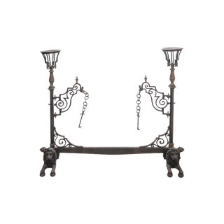 19th Century French Bronze and Wrought Iron Fireplace Stand For Sale
