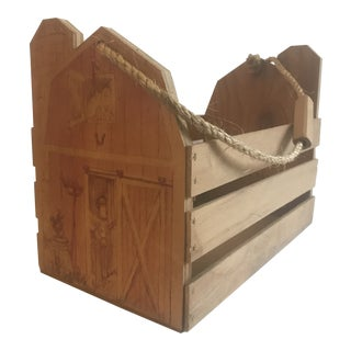 Rustic Wood Barn Carrying Crate For Sale