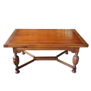 19th Century Jacobean Carved Oak Draw Leaf Refectory Dining Table For Sale