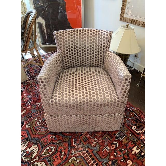 Purple Kravet Tarragona Cut Velvet Swivel Chair For Sale - Image 8 of 8