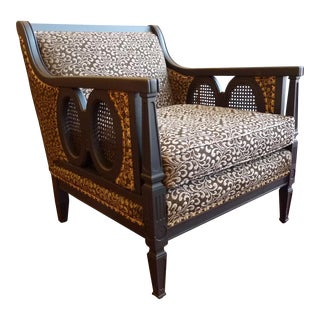 Vintage Club Chair with Black Painted Frame and Original Upholstery
