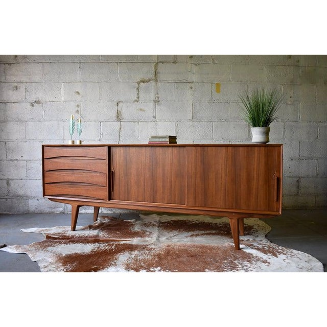 Extra Long Mid Century Modern Teak Sideboard / Credenza For Sale - Image 11 of 11