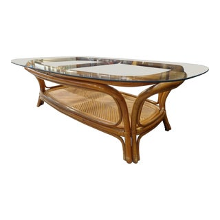 Vintage Rattan-Style Wood Coffee Table With Glass Top For Sale