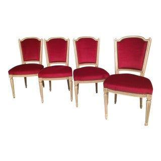 Red Mohair French Provincial Chairs - Set of 4