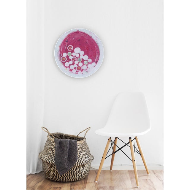 Final Mark-Down Contemporary Pink and Gold Circular Painting by Natasha Mistry For Sale - Image 4 of 6