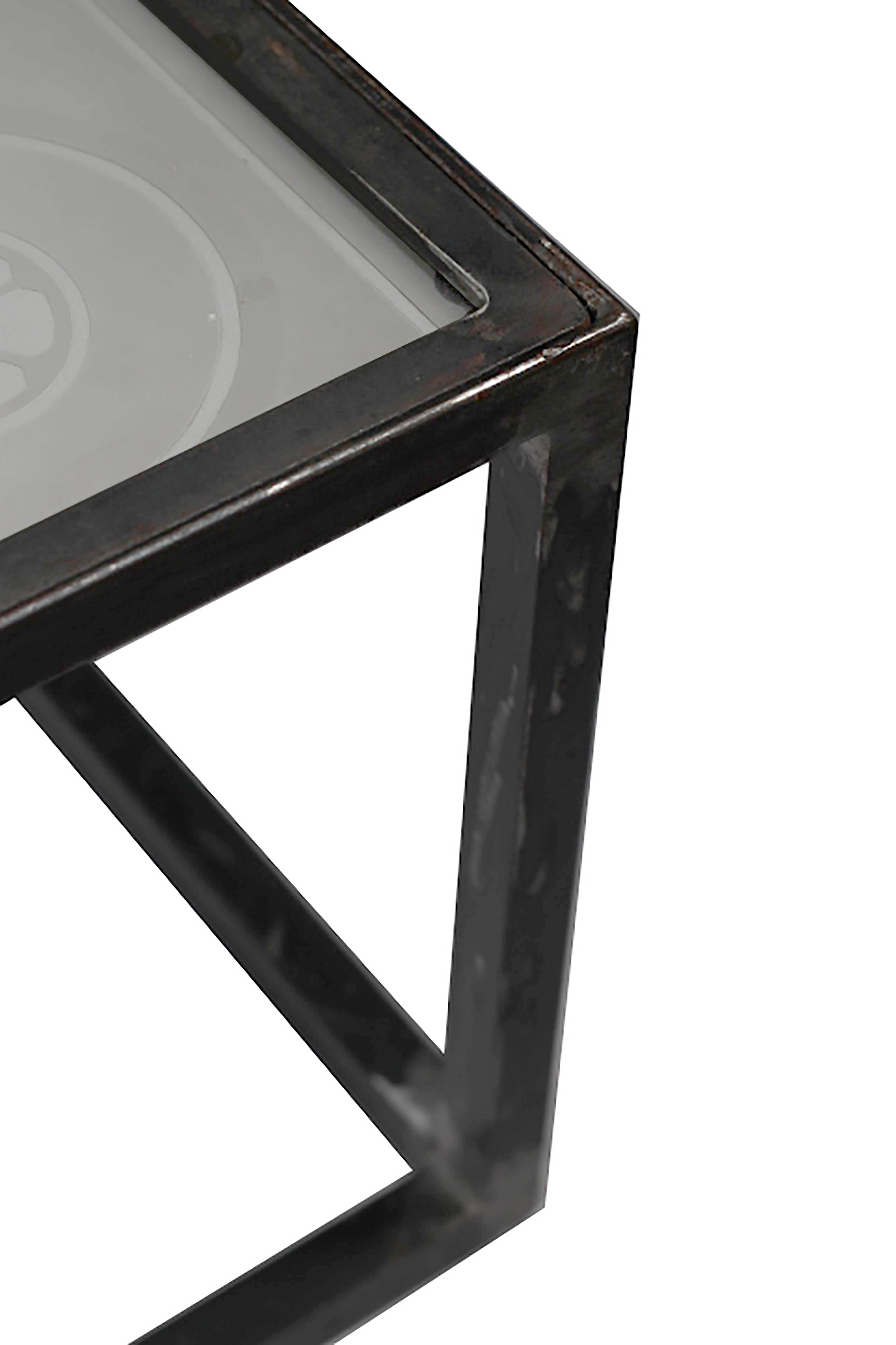 Beautiful Antique Large Steel And Etched Glass Coffee Table C