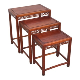 Art Deco Oriental Rosewood Nesting Tables - Set of 3 For Sale