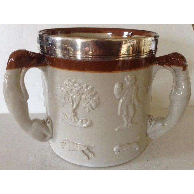 Royal Doulton English Salt Glazed Tankard / Tyg With 3 Hound Handles For Sale - Image 4 of 6