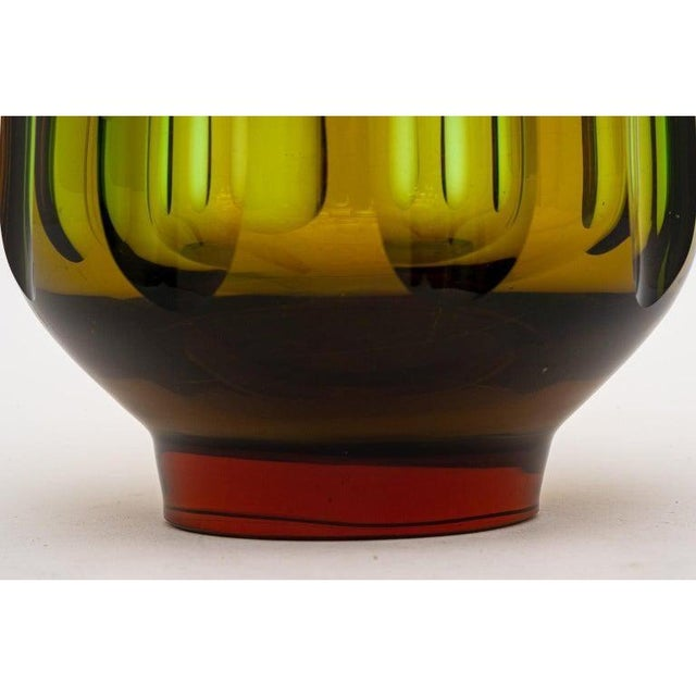 Mid-Century Modern Swedish Vase With Optic Ovals - Smokey Olive Green For Sale - Image 11 of 12