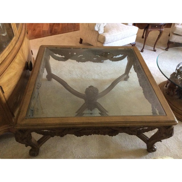 Hand Carved Traditional Glass Top Coffee Table - Image 7 of 7