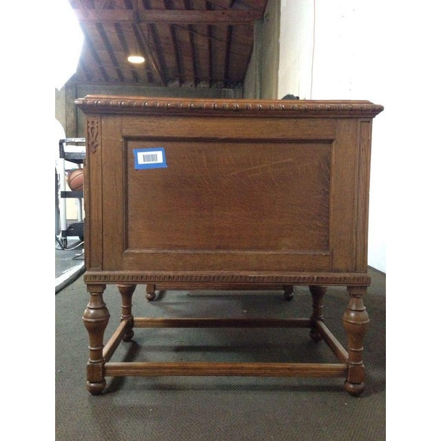 Antique English Tiger Oak Carved Desk - Image 8 of 10