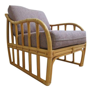 Vintage Ficks Reed Bamboo Rattan Living Room Lounge Chair For Sale