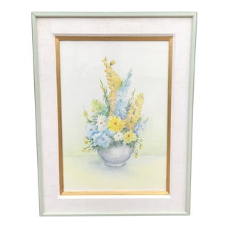 Original Vintage Still Life Watercolor Painting of Bouquet of Flowers For Sale