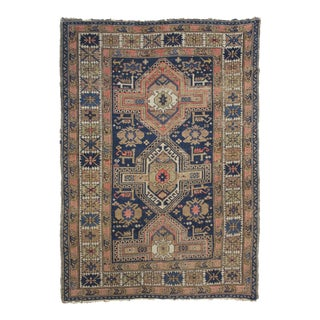 """Antique Hand Knotted Kazak Rug - 4'0"""" x 5'4"""" For Sale"""