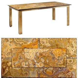 Brass Mid-Century Dining Table With an Agate & Marble Top For Sale