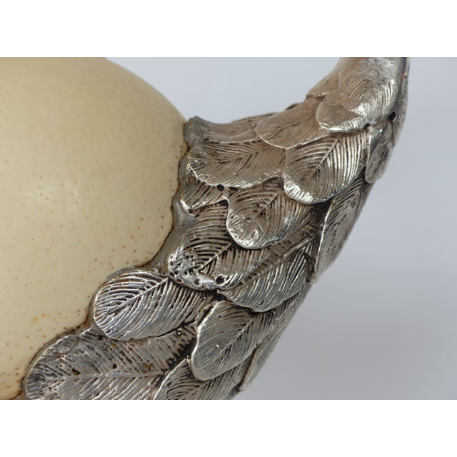 Art Deco Anthony Redmile Ostrich Egg Silver Plated Crane For Sale - Image 12 of 13