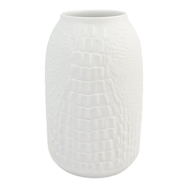 Modernist White Bisque Porcelain Vase with Crocodile Texture by A.K. Kaiser For Sale