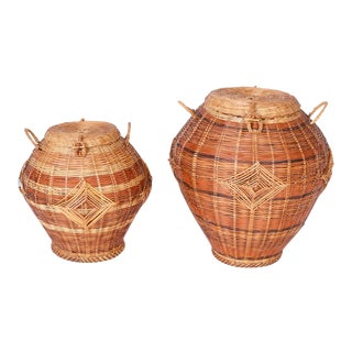 Vintage Anglo Indian Lidded Wicker Baskets - a Pair For Sale