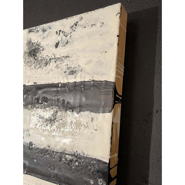 "Black Lynn Basa Encaustic Black and White Stripe Panel ""Mostly White"" 2012 For Sale - Image 8 of 12"