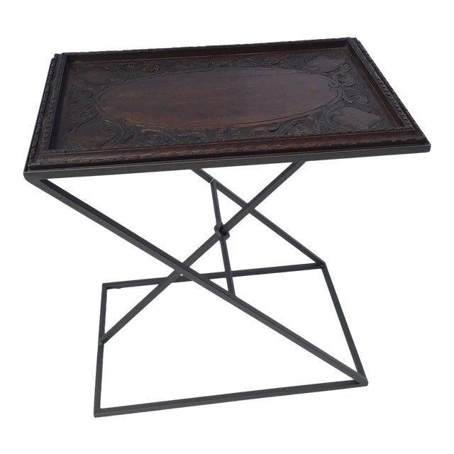 Antique English Carved Side Table For Sale
