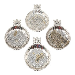Vintage Silver Plated Pineapple Trinket or Ring Dishes For Sale