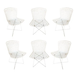 "White Bertoia Steel Wire Side Chair With ""X"" Base by Knoll, Set of 6 For Sale"