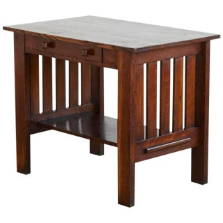 Arts & Crafts Mission Style Oak Library Table
