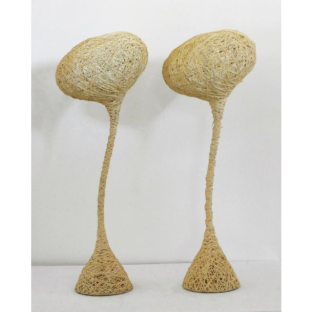 Yellow Spun String Lamps - a Pair For Sale - Image 8 of 8