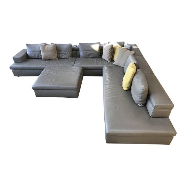 Swan Italian Leather Sectional With Ottoman - Image 1 of 5
