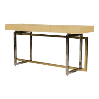 Modernist Chrome and Brass Based Console Table or Sideboard For Sale
