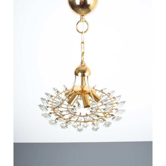 1970s Italian Stilkrone Crystal Glass and Gilded Brass Flush Mount For Sale - Image 5 of 8