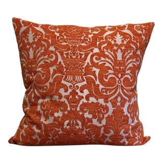 """20"""" Orange Damask Floral Orange Pillow For Sale"""