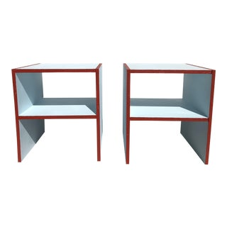 Handmade Sky Blue With Red Painted Night Stands - a Pair For Sale