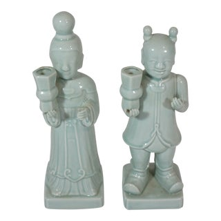 Asian Style Celadon Figures Candle Holders - a Pair For Sale