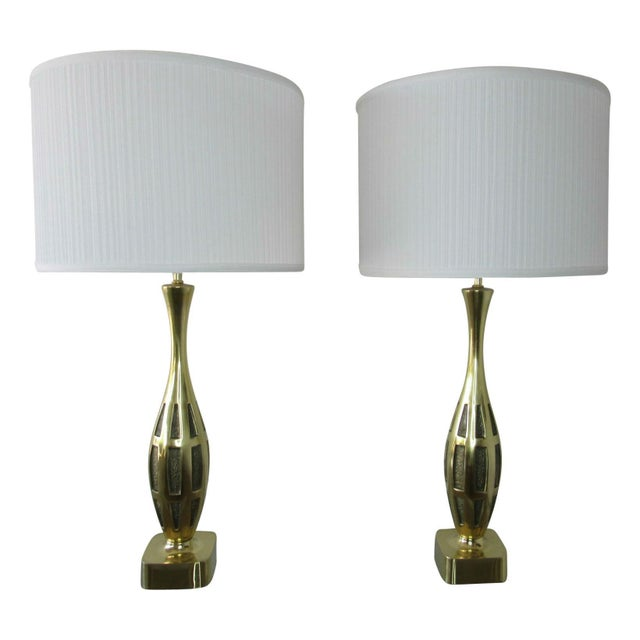 Metal Tony Paul Midcentury Brass Lamps - a Pair For Sale - Image 7 of 8
