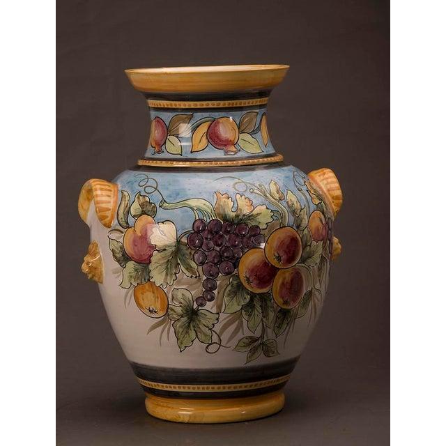 Excellent Vintage Italian Hand Painted Terra Cotta Vase Decaso