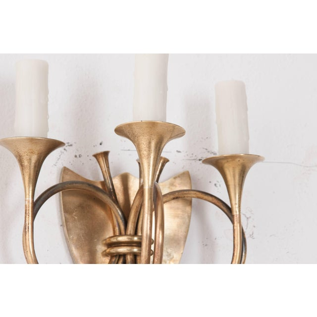 Mid 19th Century English 19th Century Brass Horn Sconces - a Pair For Sale - Image 5 of 11