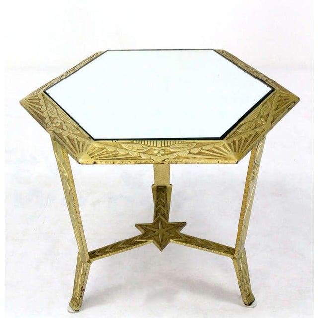 Brass Mid-Century Modern, Hexagon-Top and Star Base Side or Occasional Table For Sale - Image 7 of 10