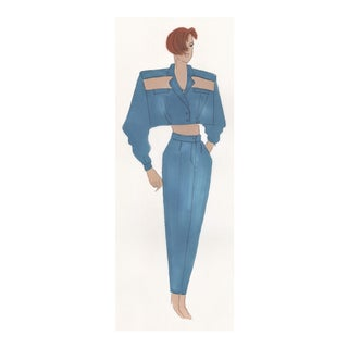 Original Fashion Drawing-1980s For Sale