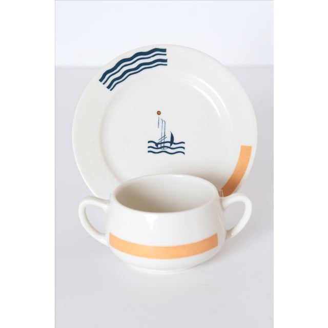 Pair Signed S.S. Leviathan Two-Piece Matched Serveware, Eugene Schoen and Lee Schoen by OPCO Syracuse China For Sale - Image 9 of 11