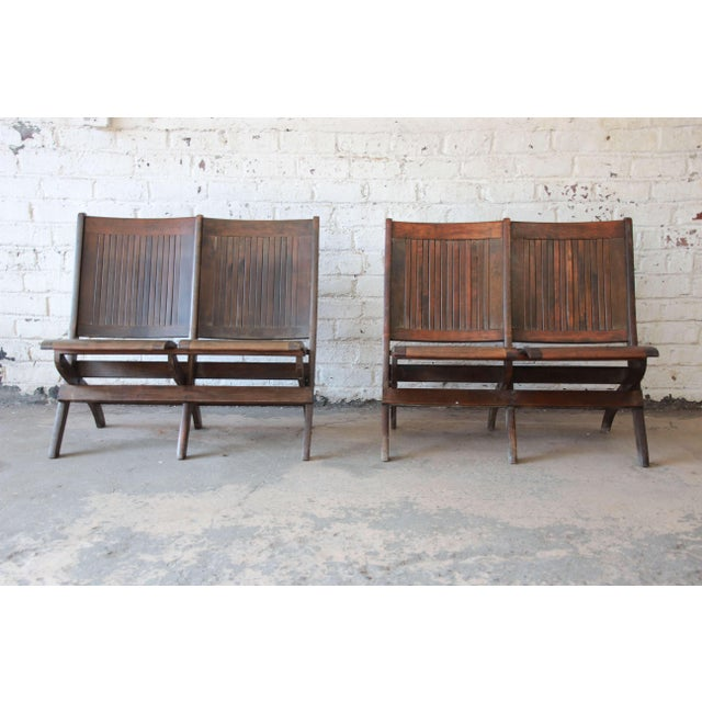 Offering a unique pair of antique maple two seat folding benches. Each  bench has two - Antique Dark Maple Two-Seat Folding Benches - A Pair Chairish