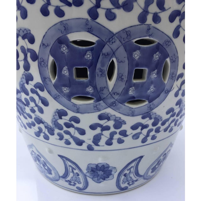Chinese Porcelain Garden Seat in Blue and White Floral Motif For Sale - Image 4 of 13