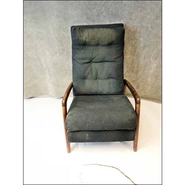 """VINTAGE 1960s RECLINER ARM CHAIR. Chair measurements overall are approx 39"""" tall x 25"""" wide x 30"""" deep. Solid hardwood..."""