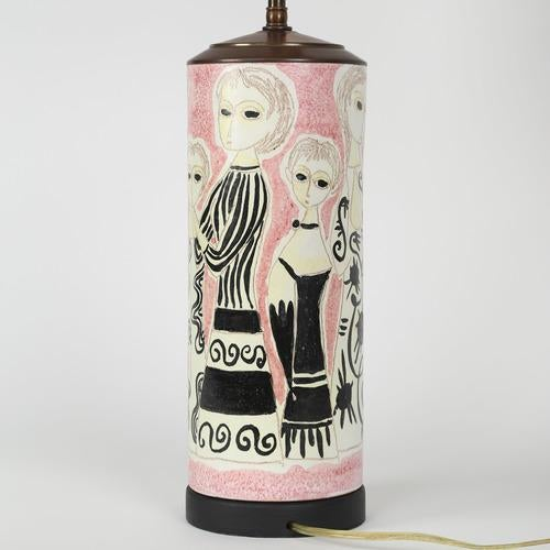 Italian PARTY DRESS CERAMIC TABLE LAMP BY MARCELLO FANTONI For Sale - Image 3 of 6
